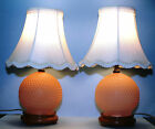 (2) Pink Vintage Hobnail Boudoir Lamps w/Silk Shades