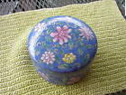 VTG HAND PAINTED BLUE W/FLOWERS ORIENTAL WHAT NOT DISH W/DOME STYLE LID 6