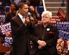 BARACK OBAMA AND SENATOR TED KENNEDY AT CONNECTICUT RALLY - 8X10 PHOTO (EP-837)