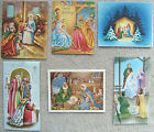 VINTAGE NATIVITY MANGER SCENE CHRISTMAS SIX GREETING CARDS 6 USED HOLIDAY CARDS