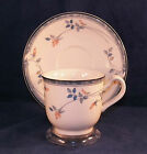 Noritake EastFair 9171 Cup and Saucer Set Peach Flowers Blue Trim on White