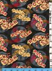 Fabric Henry Glass ROCK STAR music words notes pink