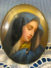 Miniature Portrait Plaque ~ MADONNA IN BLUE ~ Hand Painted Porcelain Antique