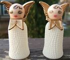 angels with gold wings Christmas salt pepper set 1950s glass and plastic vintage