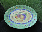 Sango Sangria Yellow Center Fruit Green Rim Embossed Fruit Large Oval Platter