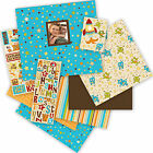 Boy Teal Blue  Brown Stars 12x12 Scrapbooking Album Kit 76 pieces KCompany New