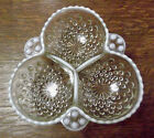 Anchor Hocking Moonstone 3 Part Relish Dish Opalescent White/Clear Mint Cond.
