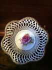 LATICE AND ROSE PORCELAIN BASKET MADE IN JAPAN  FREE SHIPPING