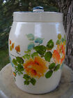 1940's Heavy Pottery Cookie Jar. Painted Floral Pattern.