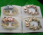 Clear AB Glass Colorful Rhinestones Flower Oval Metal Hair Clips Barrette #4