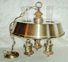 Vintage Mid Century Brass Saucer Style 3 Stovepipe Hurricane Ceiling Fixture