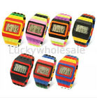 Retro Digital LCD Sports Shhors Watch Construction Building Brick Block Pixel