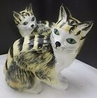 Pair Of Italian Ceramic Meissen Cats Hand Painted & Hand Made NEW