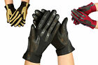New Ladies Quality Leather Driving Gloves - Black Tan Dark Brown leather & Lycra