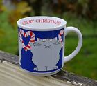 Sandra Boynton Merry Christmas Cat Candy Cane Hearts Blue Coffee Mug Holiday