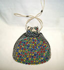 Vintage 1940's Multi-Color Bead Drawstring Purse Handbag Bag