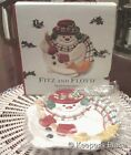 FITZ AND FLOYD PLAID CHRISTMAS SNOWMAN CANAPE APPETIZER SNACK PLATE TRAY NEW BOX