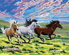 New Acrylic Paint By Numbers 16x20 kit Painting DIY Animal Horse Race
