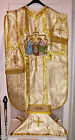 Vintage Style Christmas Nativity Chasuble Set Gold Damask Fabric Embroidered