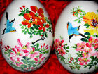 Vintage Pair Asian Japanese Chinese Hand Painted Eggs Glass Case Birds Flowers