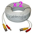 2x Security Camera White Video Power Siamese Pre-Made Cable CCTV BNC RCA 100FT