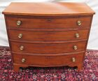18TH CENTURY CHIPPENDALE BOSTON BOW FRONT MAHOGANY CHEST OF DRAWERS ca. 1790