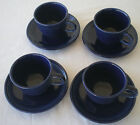 Fiesta Ware Cobalt Blue Cups And Saucers Set Of Four (4)