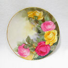Handpainted Porcelain Plate Silesia Pink Roses Green Yellow Leaves Gold