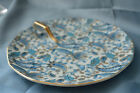 LEFTON FINE CHINA BLUE PAISLEY  HAND PAINTED TRINKET DISH GOLD HANDLE