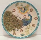 New Dutch Wax Turquoise Yellow Peacock Feather hand painted Dessert Plate Dish