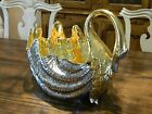ITALIAN METALLIC GOLD  SILVER HUGE CERAMIC SWAN GIANT CLAM CENTERPIECE