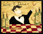 Wine and Dine Art Poster Print by Dan Dipaolo, 10x8