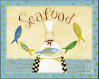 Seafood Art Poster Print by Dan Dipaolo, 10x8