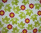 SNUGGLE FLANNEL  GREEN FROGS  FLOWERS 100 Cotton Fabric NEW BTY