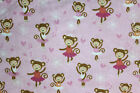 SNUGGLE FLANNEL BALLERINA MONKEYS on LIGHT PINK 100 Cotton Fabric NEW BTY