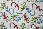 SNUGGLE FLANNELGREEN ORANGE BLUE LIZZARDS on WHITE100 Cotton Fabric NEW BTY