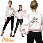 Womens Pink Ladies Jacket 1950s 50s Grease Adult Girls Fancy Dress Costume