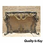 Vintage French Style Scrolling Wrought Iron Marble Top Hall Sofa Console Table