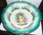 VINTAGE PORCELAIN BOWL~GERMANY~TEAL, GOLD~ GIRLS DESIGN~ESTATE FIND~NR