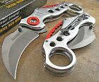 TAC-FORCE Assisted Opening SILVER KARAMBIT CLAW Speedster Finger Hole Knife NEW!