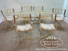 Hollywood Regency Faux Bamboo Iron Dining Table & Chair Patio Set