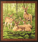 Whitetail Valley Deer Family Large panel fabric square quilting quilt block