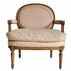 Vtg French Louis XVI Style Carved Walnut Distress Finish Wide Arm Chair Fauteuil