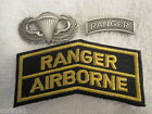 US ARMY 3Pc Set Paratrooper Jump Wings/Ranger Tab Badge & Patch Ranger Airborne