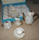 Vintage Tea Set Cups Saucers Japan Creamer Sugar Pitcher Opalescent Luster Gold