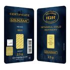 2.5 gram Istanbul Gold Refinery Bar .9999 Fine (In Assay)