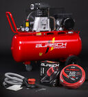BURISCH Air Compressor 3HP 90 Litre Belt Drive + DA Sander + 10m air hose 90ltr