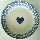 Folk Craft Hearts by Tienshan Dinner Plate, White with Dark Blue Sponge Heart