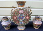THREE VINTAGE SOLID BRASS AND CLOISONNE COLORFUL VASES FROM JAPAN