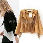 Free Shipping Womens Vogue Leisure Suede Tassels Outwear Tops Cape Coat GBW